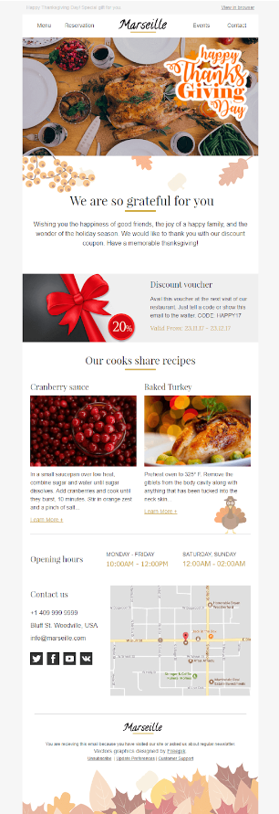 Screenshot of Thanksgiving Recipe Newsletter Template