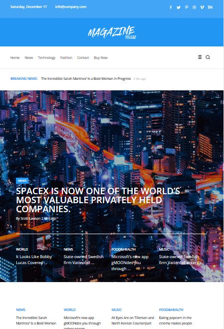 Screenshot of Magazine Email Newsletter Template sample
