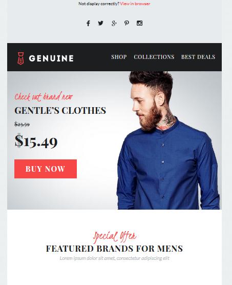 Screenshot of Genuine E-commerce Newsletter Template