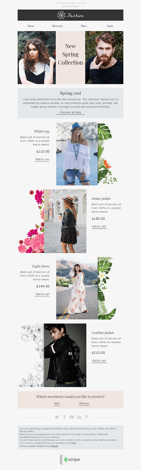 Screenshot of New Collection Email Template