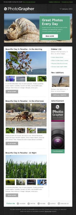 Screenshot of Photography Newsletter Template sample