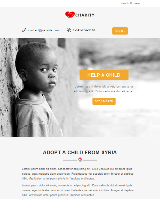 Screenshot of Charity Campaign Newsletter Template