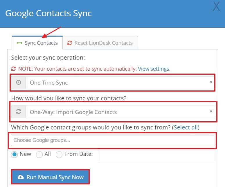 Google Contacts sync in LionDesk