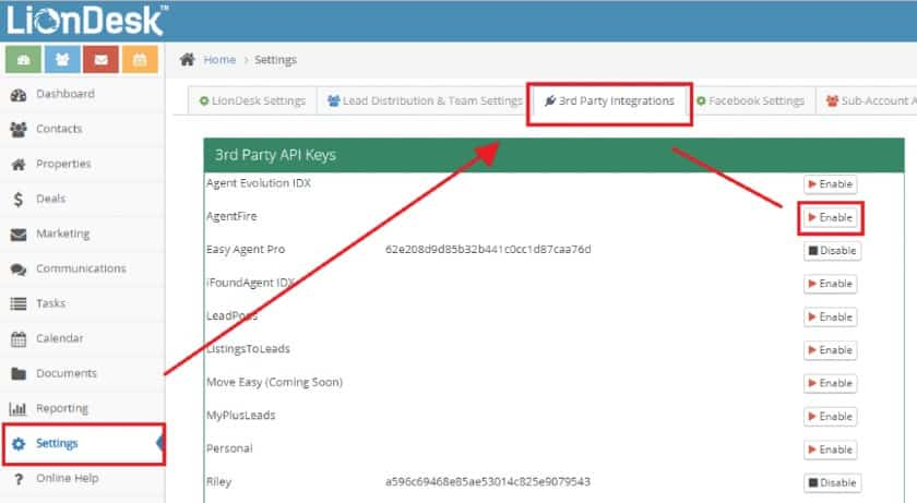 LionDesk 3rd Party API Keys integration page