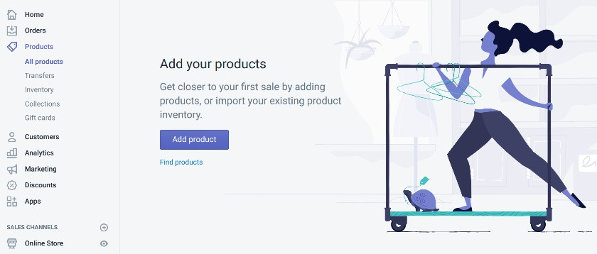 Screenshot of Adding Product Page on Shopify