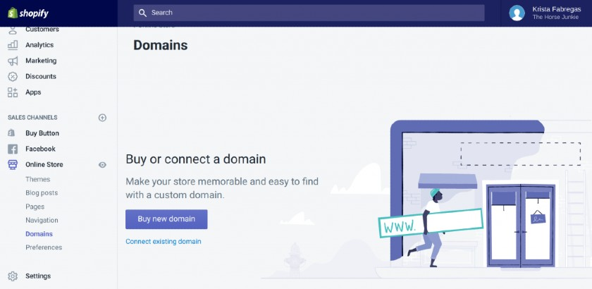 Screenshot of Buy or Connect a Domain on Shopify
