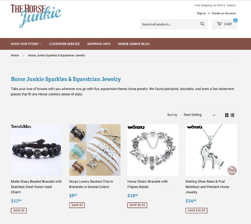 Screenshot of Completed Jewelry Collection Page on Shopify