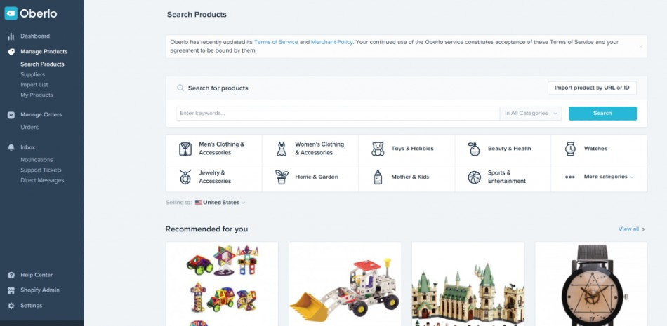 Screenshot of Exploring Products on Shopify