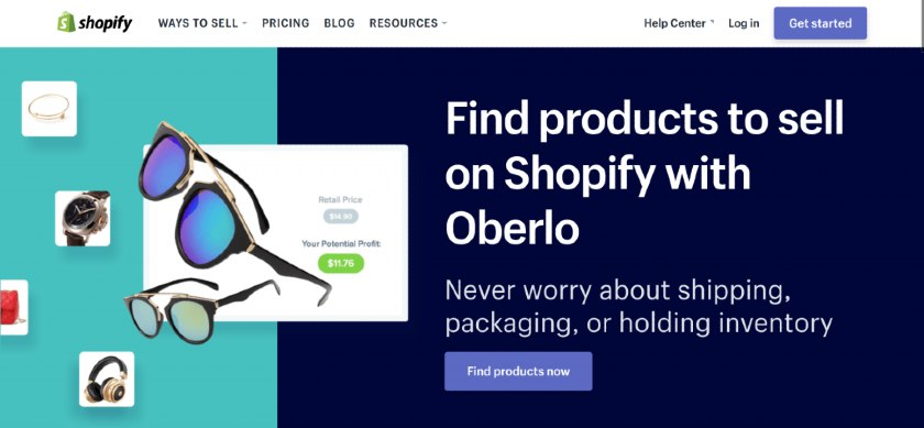 Screenshot of Finding Products on Shopify