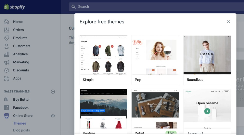 Screenshot of Free Themes on Shopify