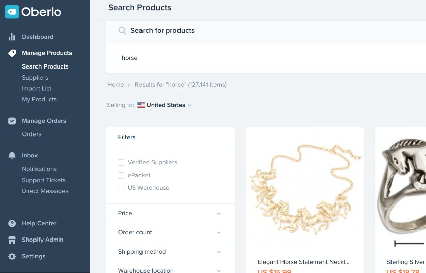 Screenshot of Horse Filter Search on Shopify