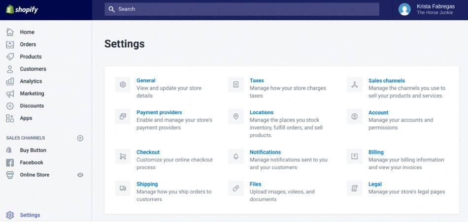 Screenshot of Shopify Store Settings
