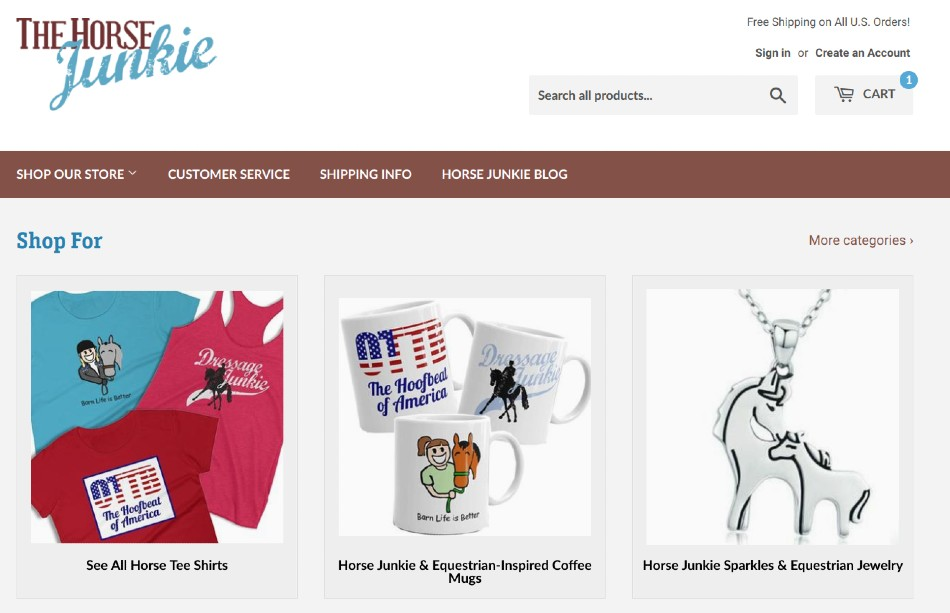 Screenshot of The Horse Junkie Store on Shopify