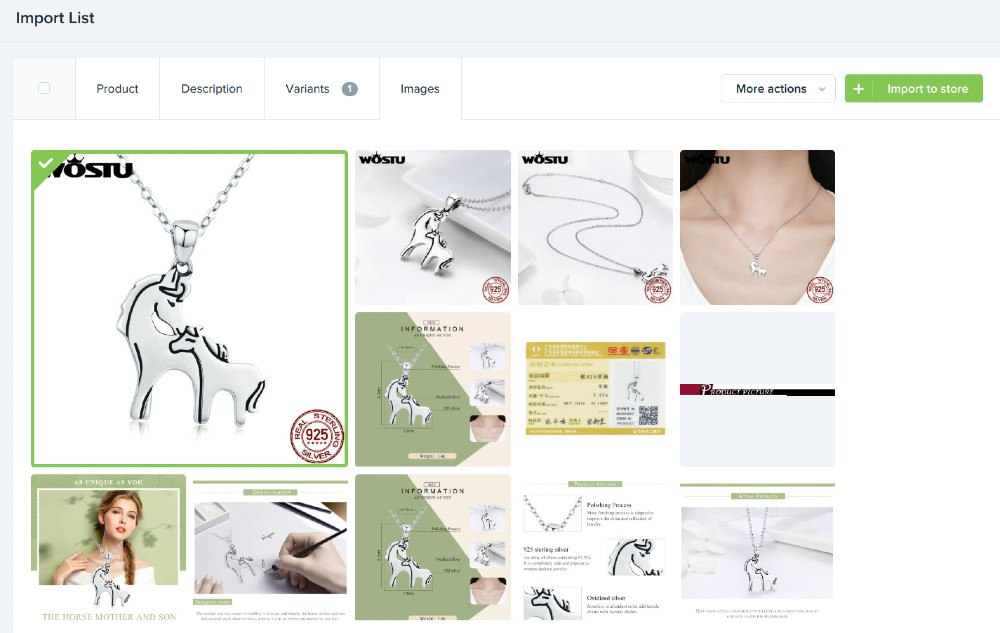 Screenshot of Uploading Images on Shopify