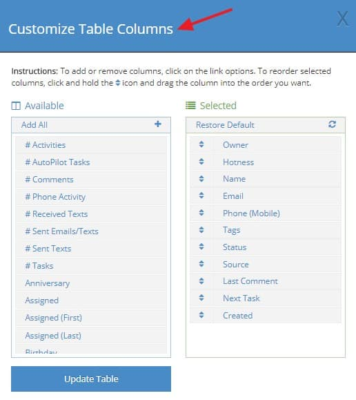 table customization in LionDesk