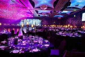 purple lighting in restaurant event