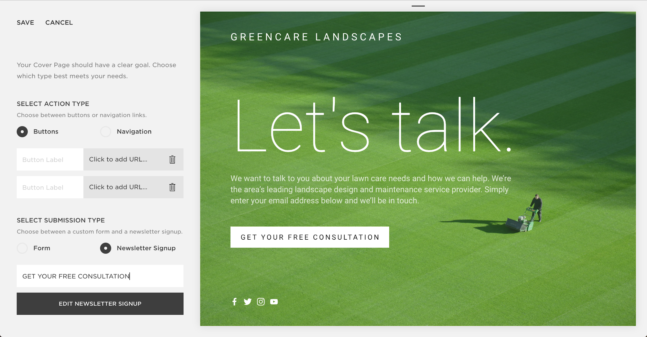 squarespace design interface - lead generation software
