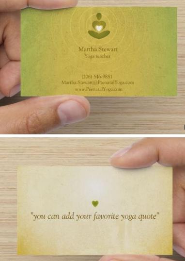 VistaPrint - yoga business cards