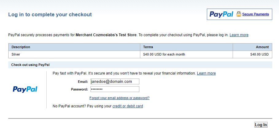 Paypal's recurring payment