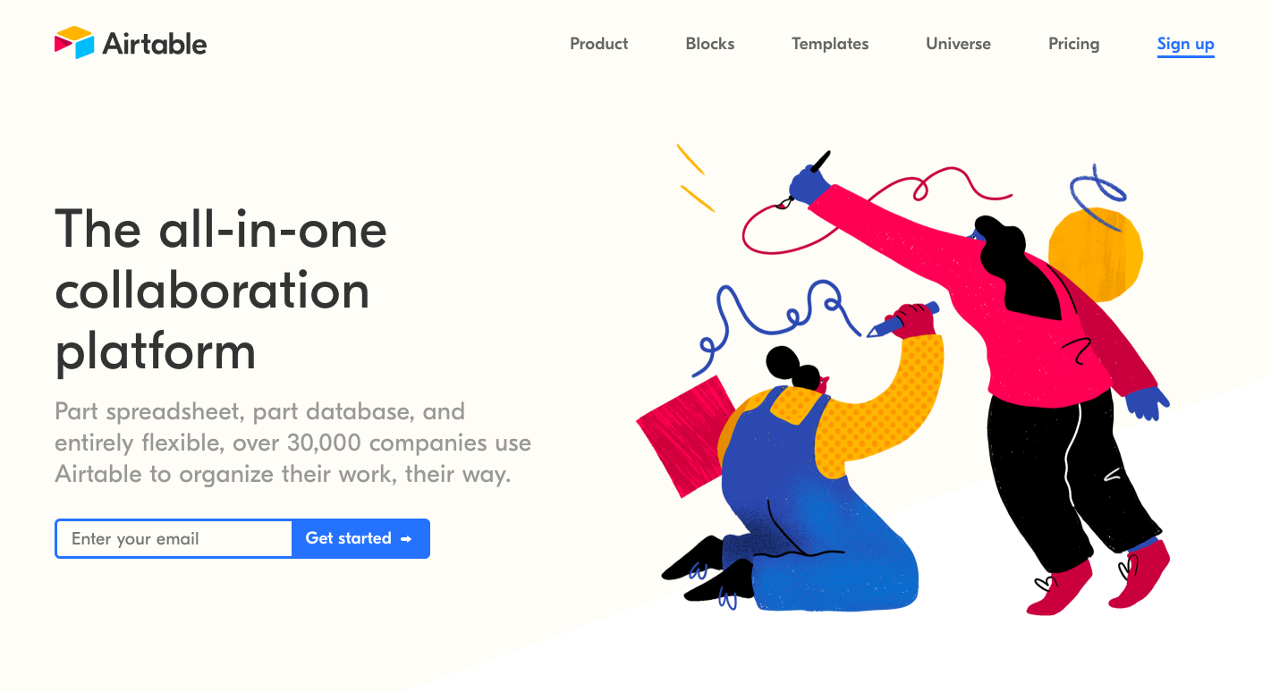 Airtable Landing Page - landing page examples