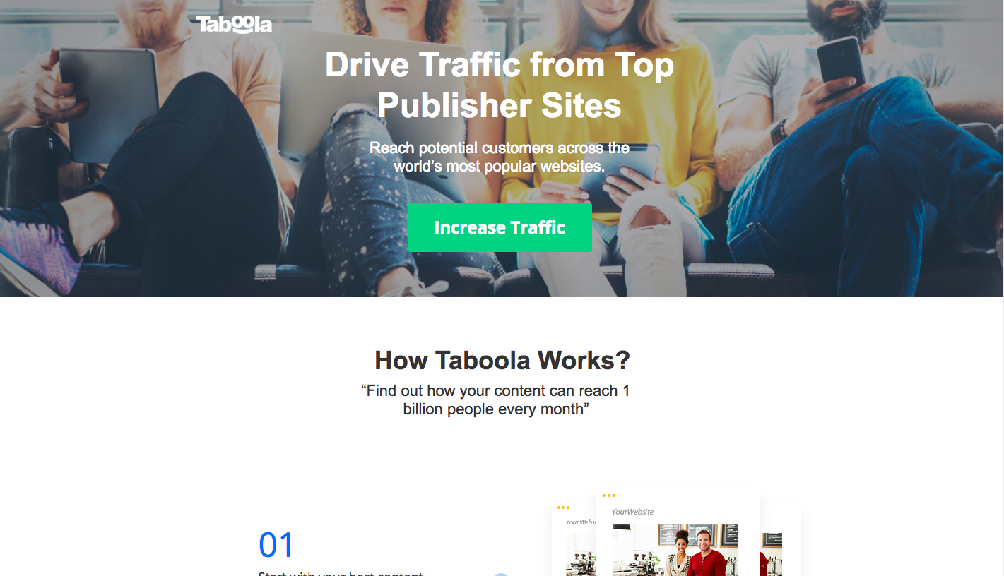 Taboola Landing Page - landing page examples