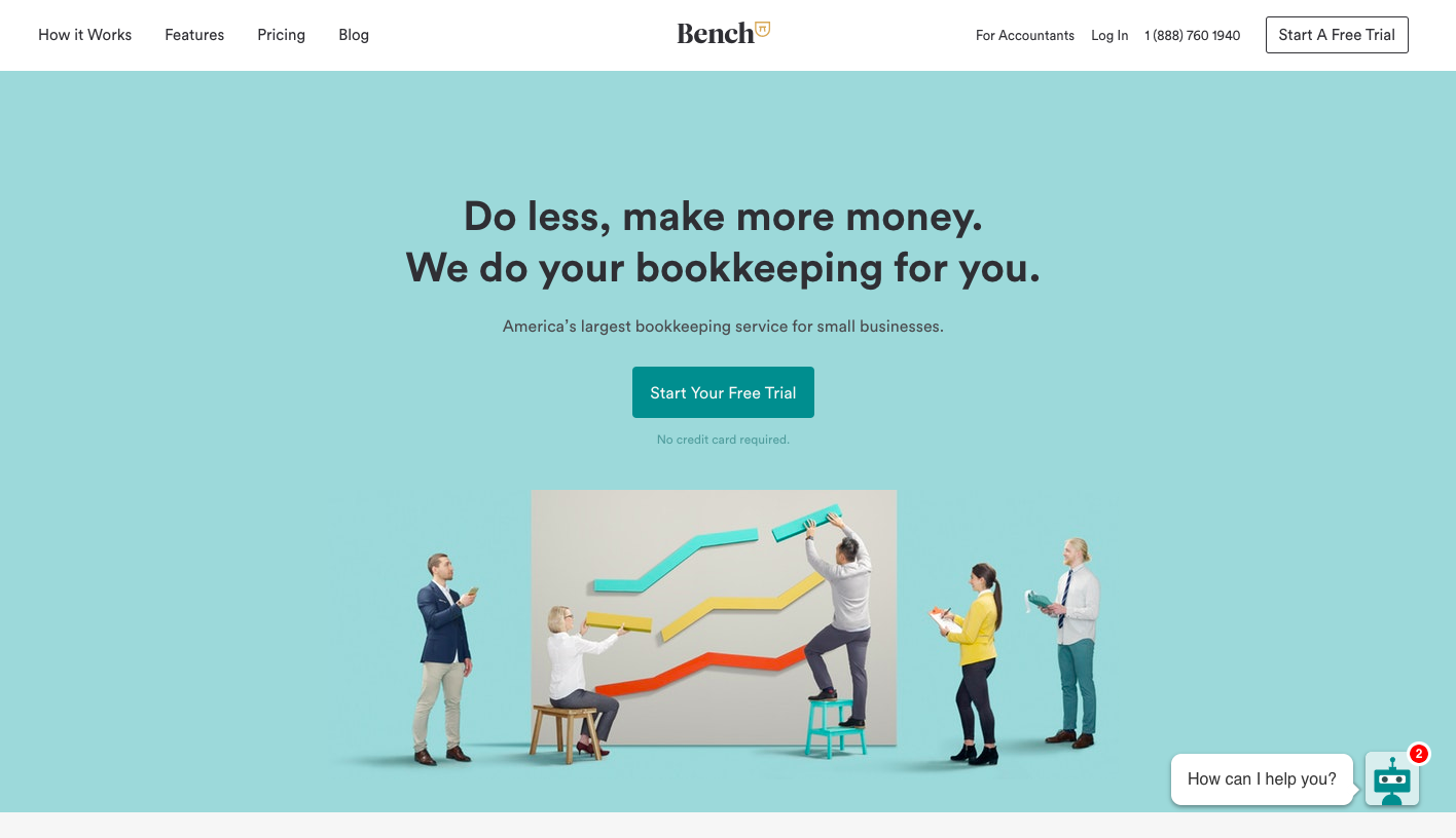 Bench Landing Page - landing page examples