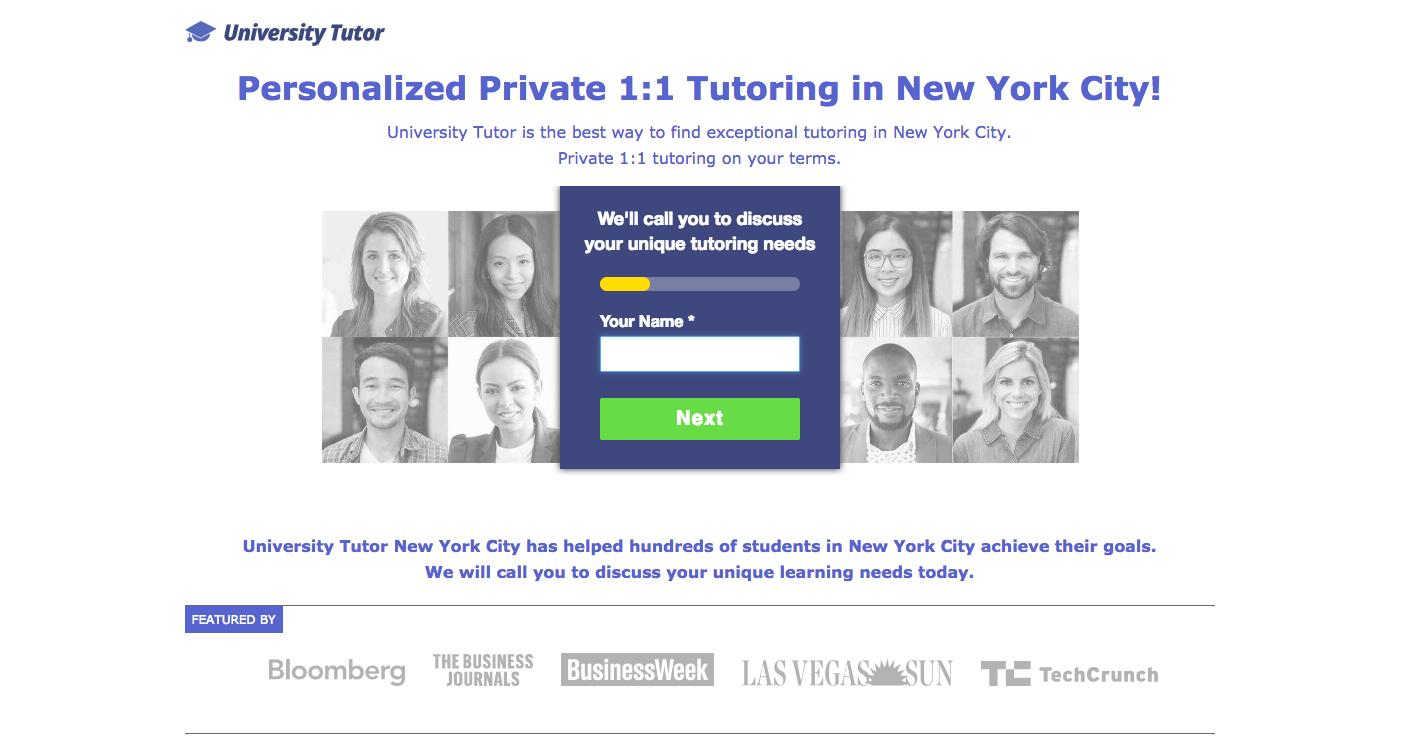 University Tutor Landing Page - landing page examples