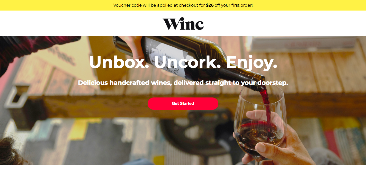 Winc Landing Page - landing page examples