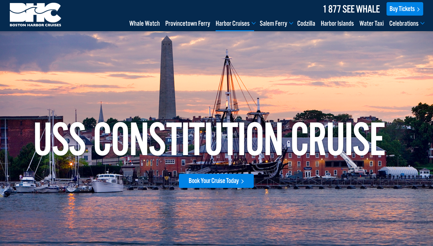 Boston Harbor Cruises Landing Page - landing page examples