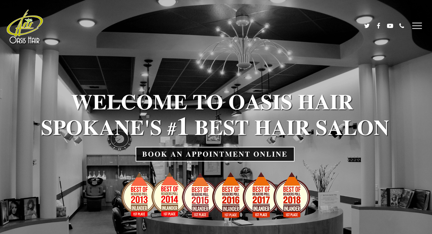 Oasis Hair Landing Page - landing page examples