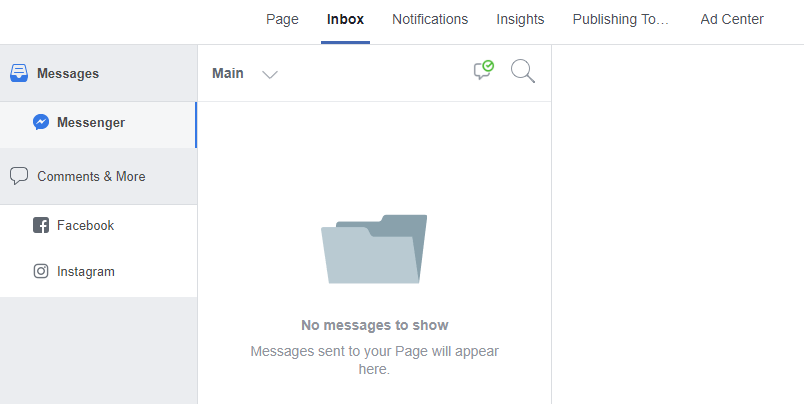 Screen capture of the facebook ads inbox.