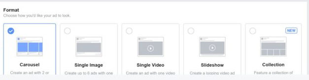 A screen capture of the formatting options for Facebook Ads.