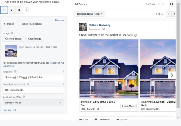 A screen capture of Facebook Ad Level Options