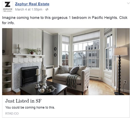 Example of a Real Estate Agent Facebook Ad describing property features. Image via Zephyr Real Estate