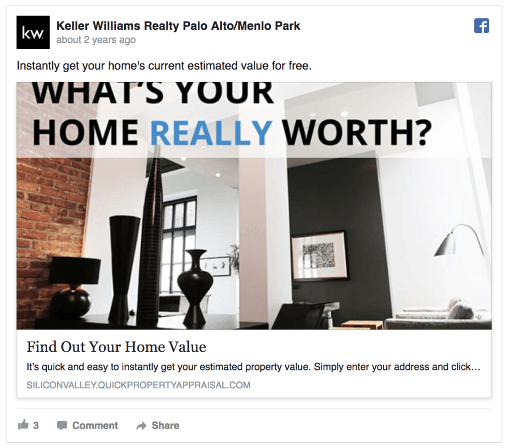 An example of a Lead Capture Facebook real estate agent Ads. Image via Keller Williams Realty