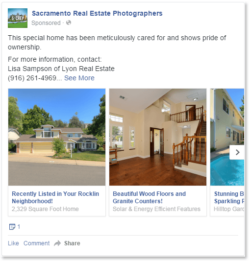 Example of a Multi-Image Facebook Real Estate Ad