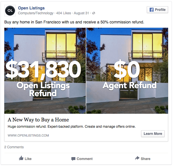An example of how to tell a story with facebook real estate agent ads. image via Open Listings