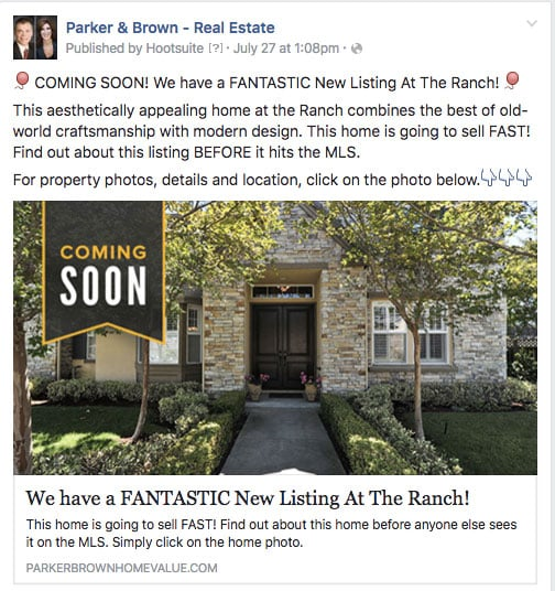 An example of a Coming Soon Facebook Real Estate Ad. image via Parker & Brown Real Estate