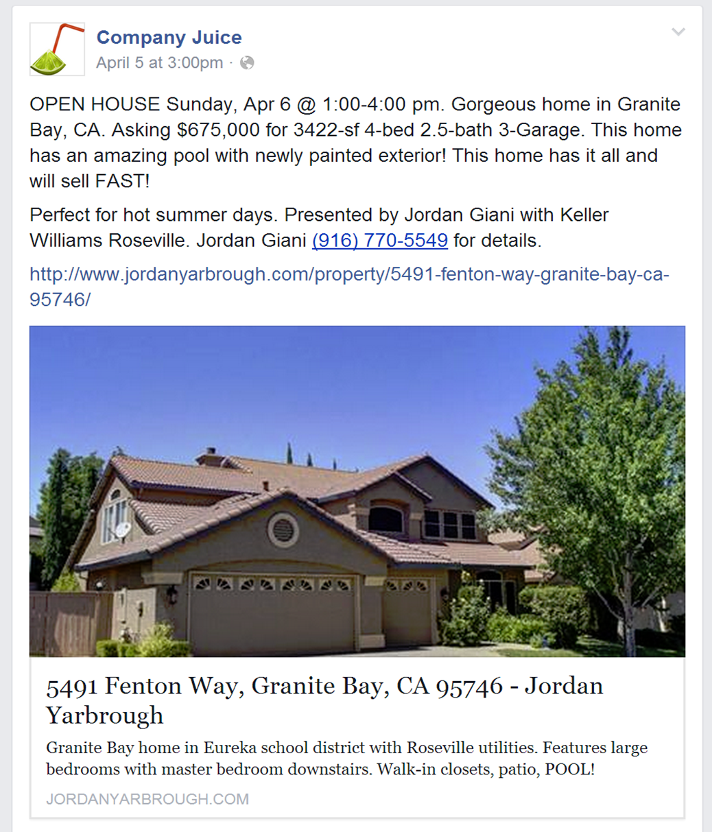 An example of an Open House Facebook Real Estate Ad. image via Company Juice