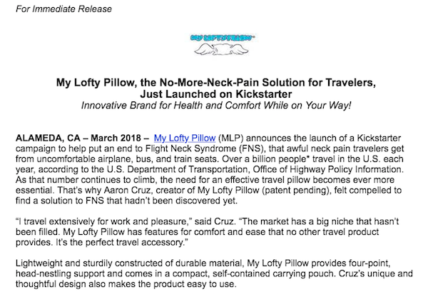An example of using a quote in a press release from Lofty Pillow