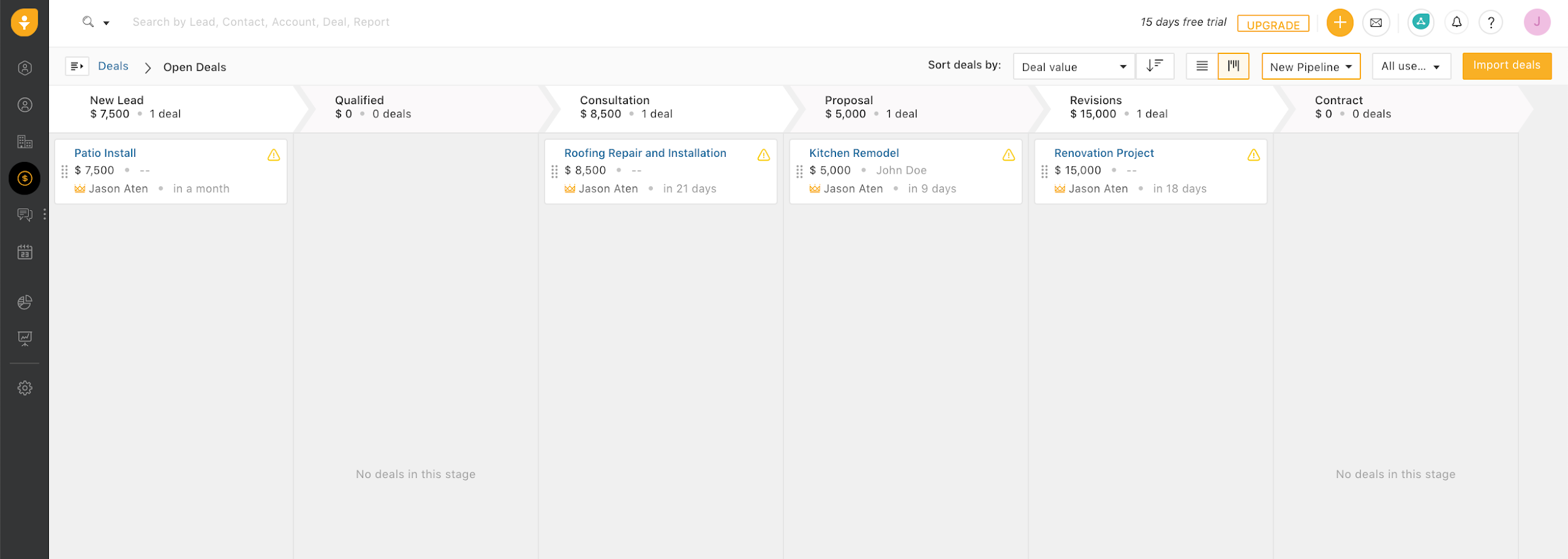 Sales pipeline interface in Freshsales