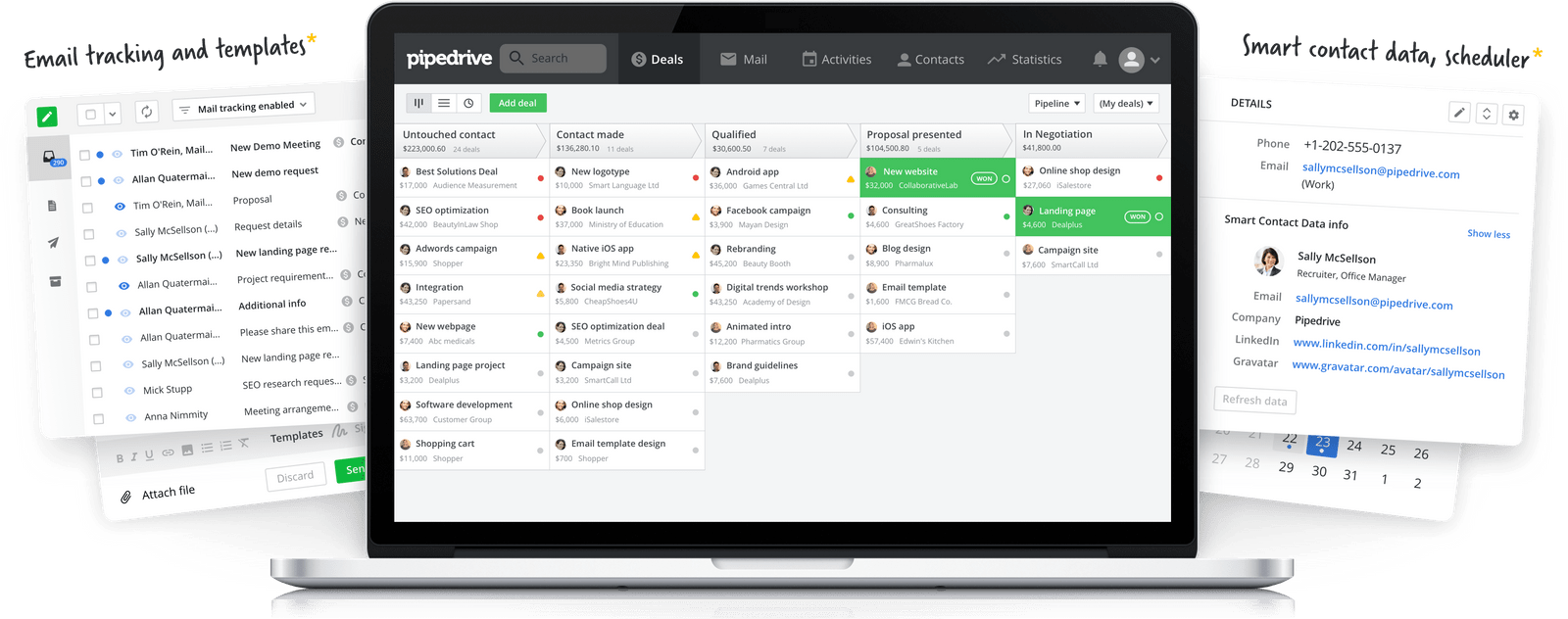 Visual of Pipedrive's CRM platform