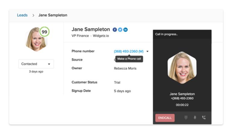 Freshsales' calling feature screenshot