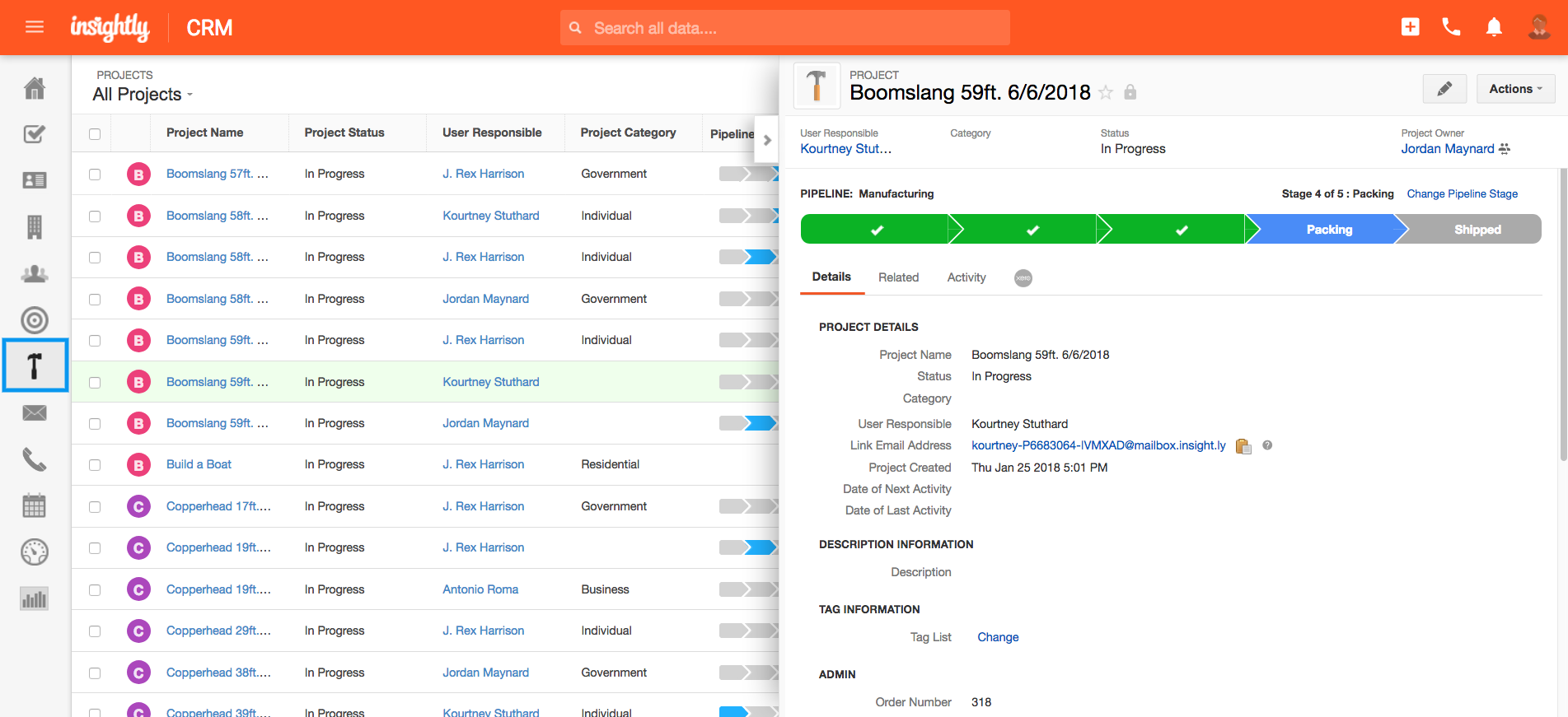 Insightly project management screenshot
