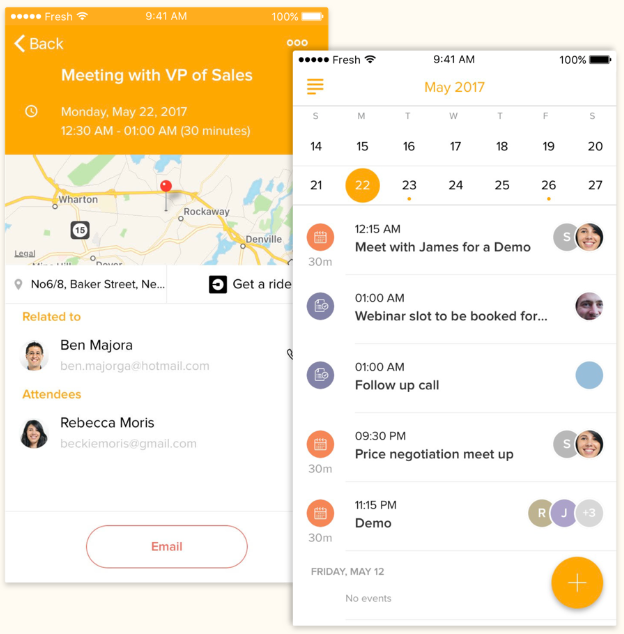 Freshsales calendar and map mobile app screenshot
