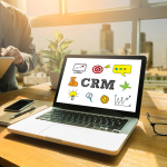 CRM open on laptop