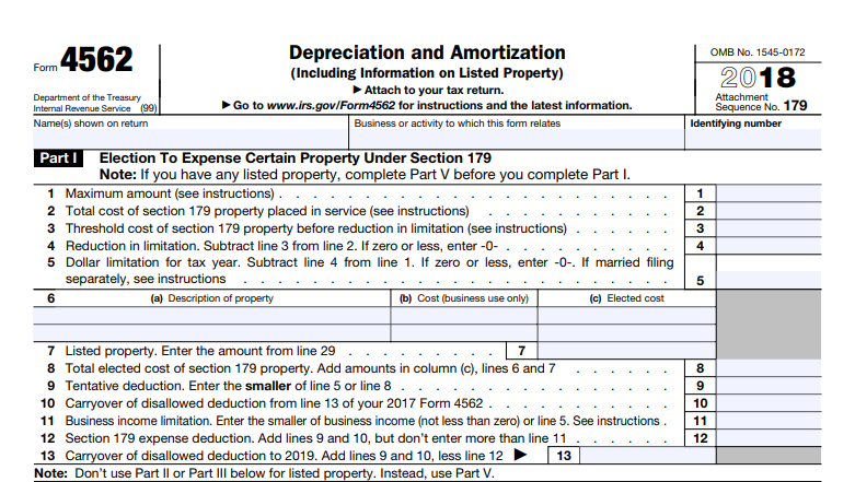 IRS Form 4562 - section 179 deduction