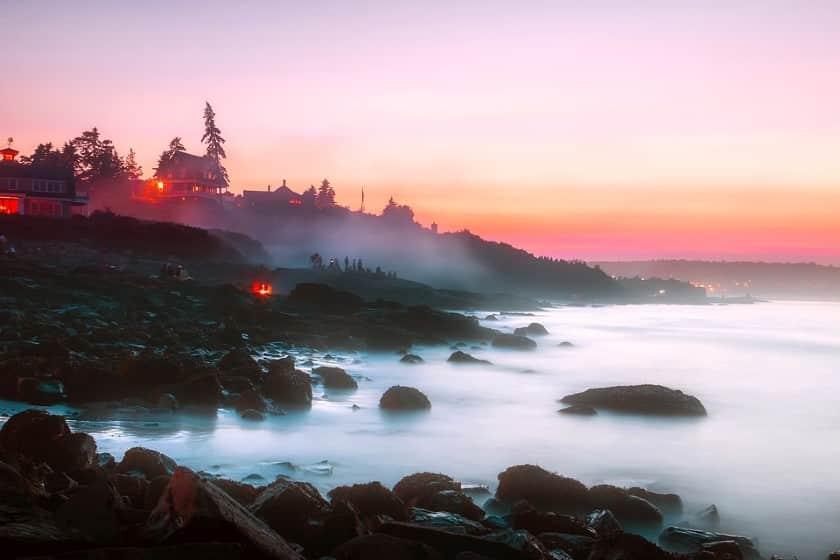 Ogunquit sunset over misty seashore in Maine