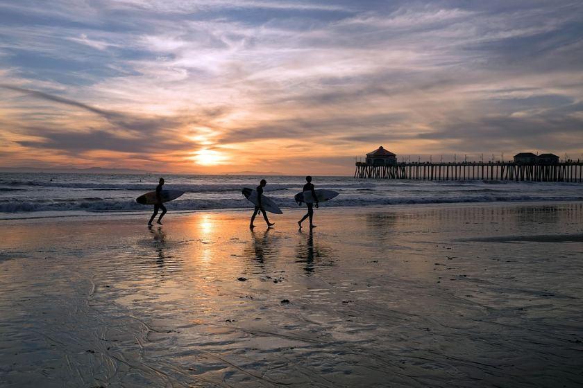 surfers walking in a beach