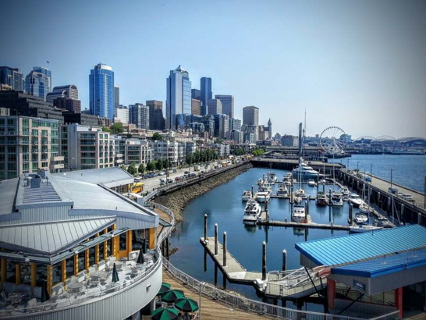 View of the waterfront from the Bell Street Pier, in Seattle, Washington